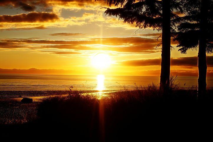 Sunset, Cook's Inlet, Alaska, Coastal, Landscape, Ocean