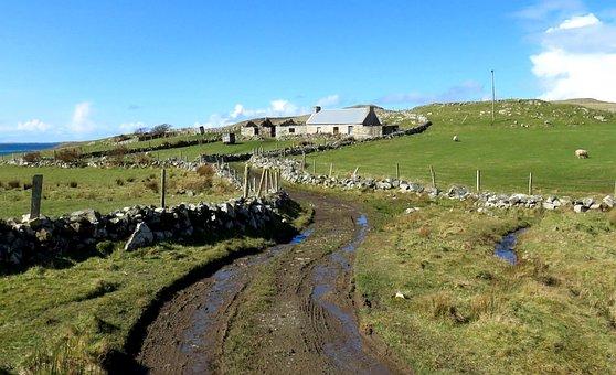 Landscape, Fields, Path, Sky, Stonewalls, Nature, Rural