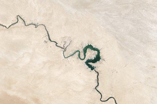 Cracks, Desert, Dry, Euphrates River, Sand, Topography