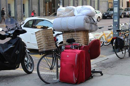 Moving By Bike, Removal, Suitcases, Transport, Bicycle