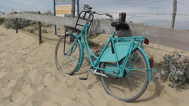 Bike, Turquoise, Wheel, Dunes, Sand, North Sea, Sea