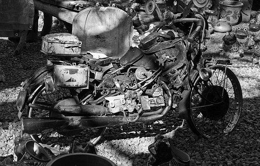 Motorcycle, Bike, Vintage, Black, White, Parts, Toy