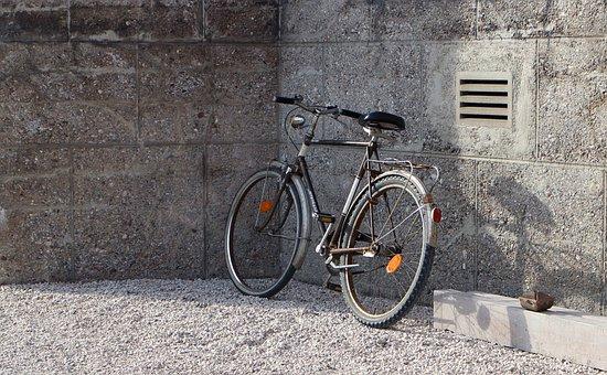 Bike, Wall, Parking Space, Lean On, Wheel, Nostalgia