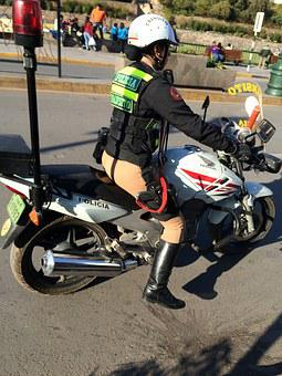 Police, Lima, Moto Read, Woman, Bike, In Service