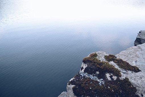 Calm Waters, Cliff, Edge, Glare, Nature, Ocean, Ripples