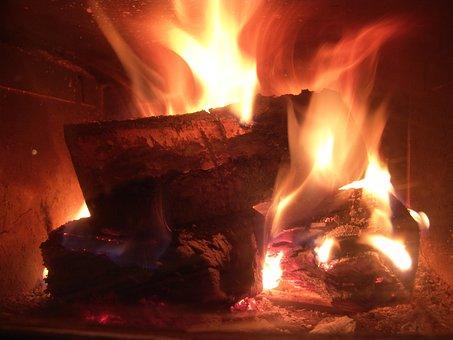 Fire, Open Fire, Fireplace, Combs Thread Cutting, Flame