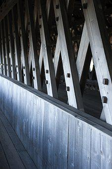 Frankenmuth, Bridge, Wooden, Texture, Architecture