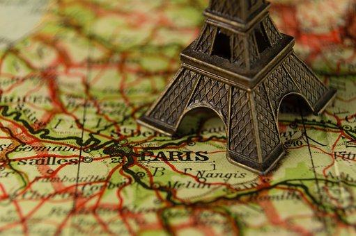 Eiffel Tower, France, Landmark, Map, Miniature