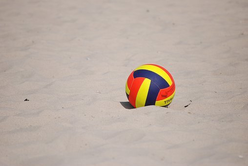 The Ball, Volleyball, Beach, Sand, Sea, Landscape