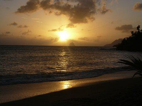 Sunset, Sky, Beach, Martinique, Rock Of Diamond