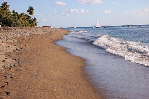 Beach, Sea, Ocean, Waves, Palms, Sand, Boats, Sky