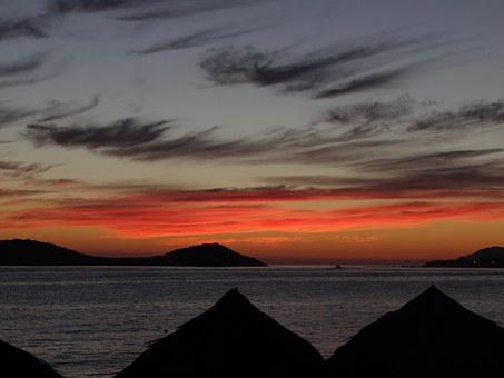 Sunset, Beach, Sea, San Carlos, Mexico