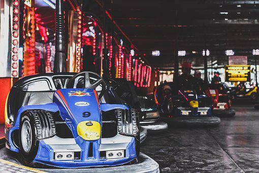 Amusement Park, Bumper Cars, Dodgems, Gray Park
