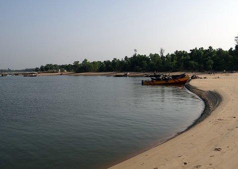 River, Gangavali, Estuary, Water, Sand Bar, Boat