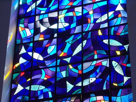 Stained Glass, Stained Glass Windows, Fish