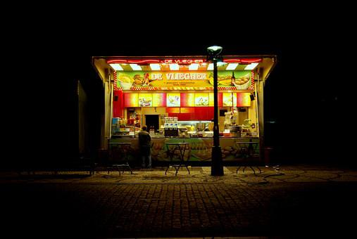 Bruges, Stall, Fries, Chips, Night, Market