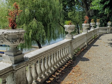 Sesto Calende, Italy, Patio, Railing, Walkway, Trees