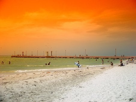 Yucatan, Mexico, Sea, Ocean, Water, Beach, Sand, Pier