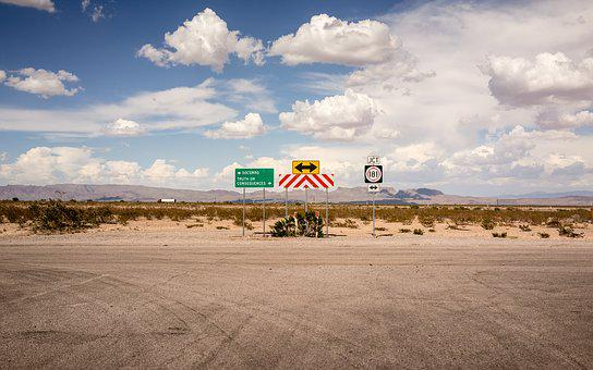 Clouds, Mountain, Road, Signs, Sky, Travel