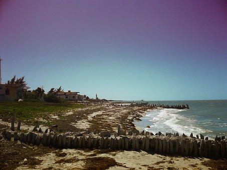 Yucatan, Mexico, Sea, Ocean, Water, Waves, Sky, Clouds