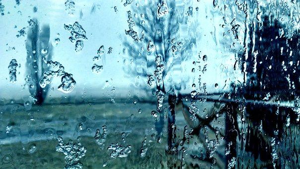 Frost, Melting, Window, Glass, Rain, Dreary, Wet