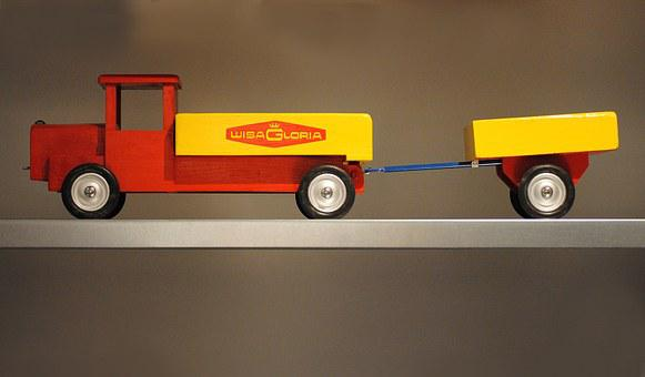 Truck, Toys, Play, Wisa Gloria, Red, Yellow
