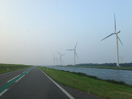 Wind Mill, Road, Lonely, Only, Zealand, Netherlands