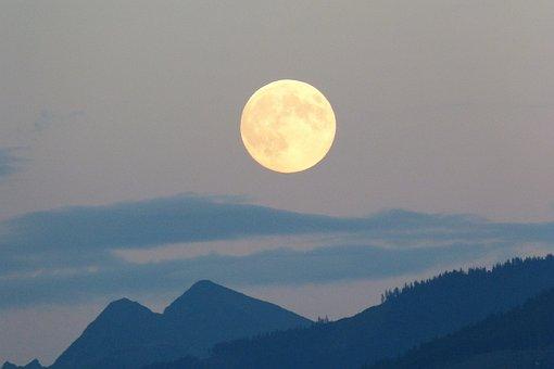 Full Moon, Moon, Super Moon, Cloud Plume, Twilight