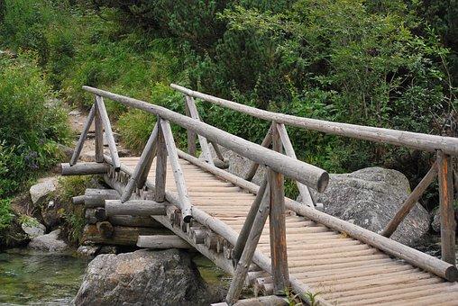 Bridge, Wooden, River, Torrent, Brook, Wooden Bridge
