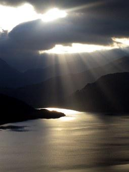 Sun, Cloud, Cumbria, Water, Sky, Shadows, Ullswater