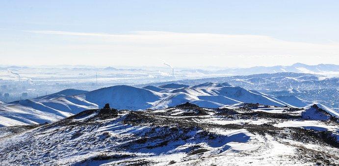 Mountain, Snow, Winter, Beyond, Smoke, City, Blue, Cold