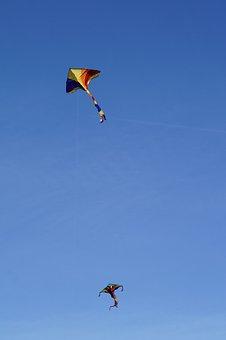 Dragons, Kite Flying, Sky, Blue, Autumn, Wind