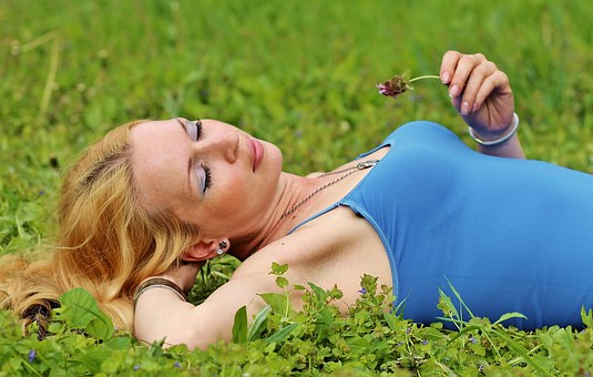 Blonde Woman, Lie, Beauty, Dream, Green Grass, Spring