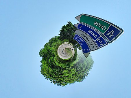 Little Planet, Road Signs, Street Signs, Blue Sky