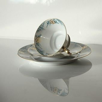 Builds, Antique, Cover, Coffee Cup, Porcelain, Old