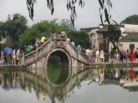 Bridge, China, Water, Sea, Asia, Tunxi, Mirror, People