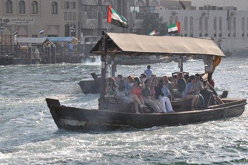Dubai, Ferry, Harbor, City, Water, Boat, Vessel