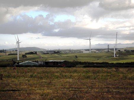 Farm, Farm House, Wind Turbines, Petrochemical Plant
