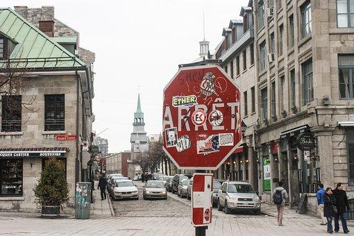 Montreal, Stop Sign, Vandalism, Graffiti, City, Stop