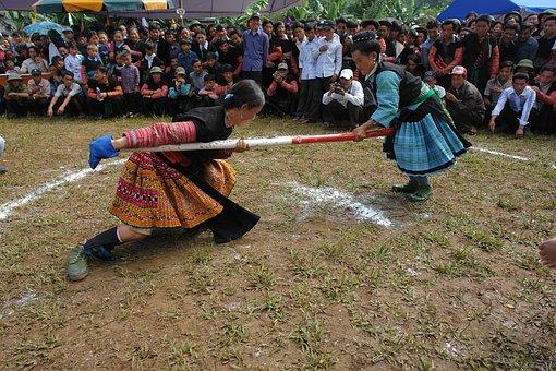 Hmong Girls, Playing Tug, Village Festival