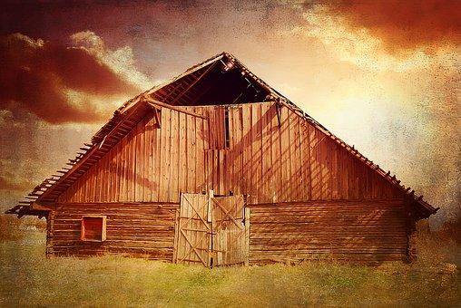 Log Cabin, Heustadel, Scale, Hut, Meadow, Sky, Clouds