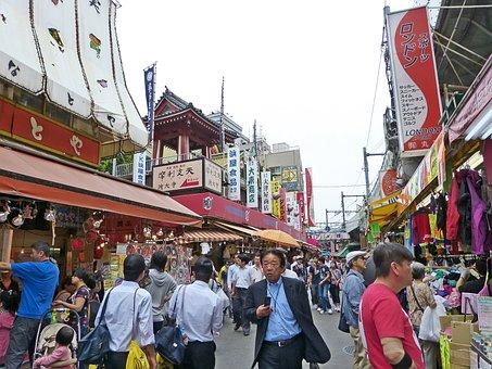 Japan, Tokyo, Ueno, Japanese, Crowd, People, Shop