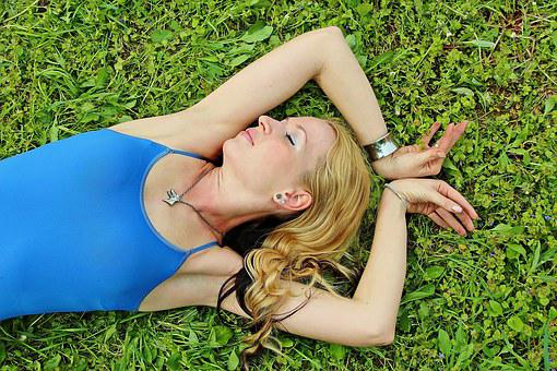 Woman, Blonde, Lie, Grass