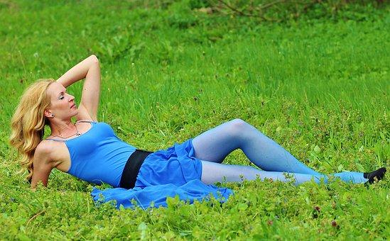 Field, Blonde Woman, Lie, Beauty, Dream, Green Grass