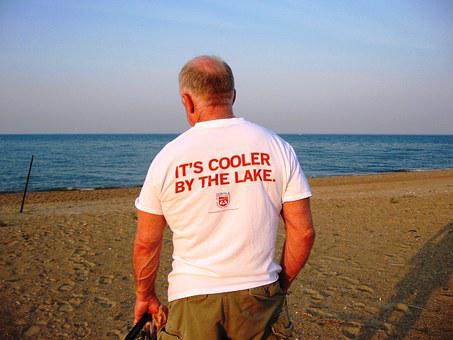 Man, Old, Standing, Tourist, Bald, Lake Michigan