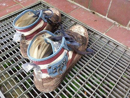 Sneakers, Dirt, Old, Dirty, Shoes, Hurricane, Mush