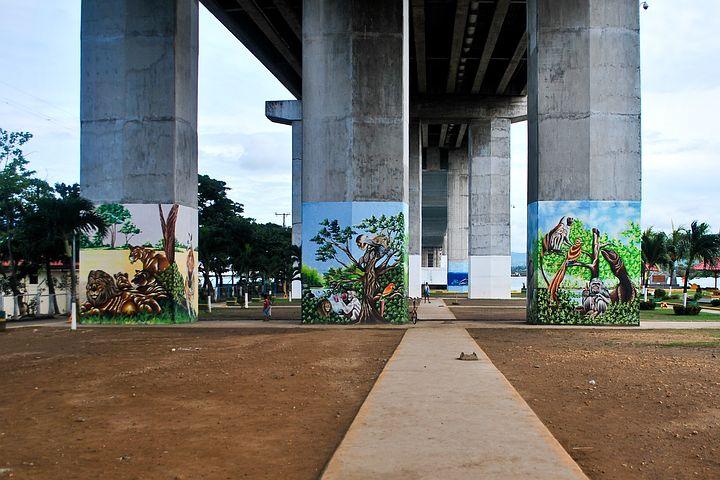 Bridge, Graffiti, Park, Concrete, Spraypaint, Texture