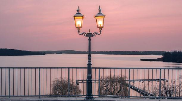 Lantern, Water, Sky, Gold, Lamp, Lake, Europe