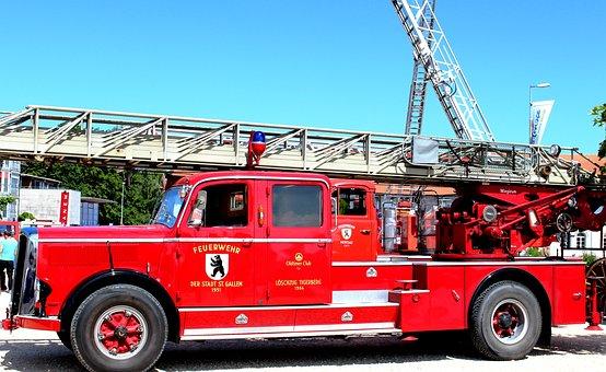 Fire, Fire Truck, Oldtimer, Turntable Ladder, St Gallen