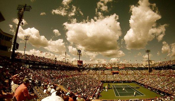 Tennis Court, Tennis, Stadium, Audience, Crowd, Sport